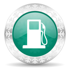 petrol green icon, christmas button, gas station sign