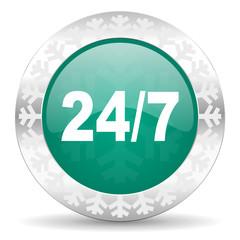 24/7 green icon, christmas button