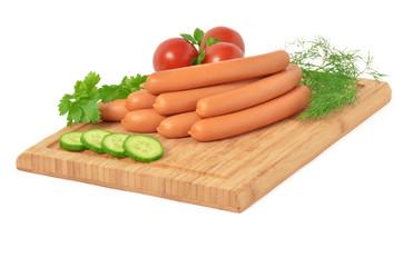 Würstchen, Fleischwürstchen, Tomaten, Gurke