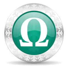 omega green icon, christmas button