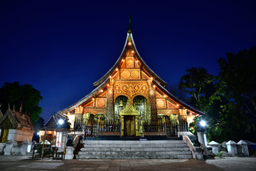 Wat Xieng thong temple in twilight, Luang Pra bang, Laos