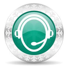 customer service green icon, christmas button