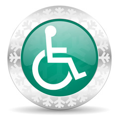 wheelchair green icon, christmas button