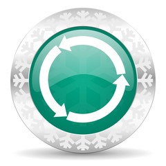 refresh green icon, reload green icon, christmas button