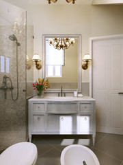 Bathroom vanities and sink consoles in classic style.