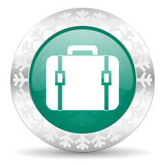 bag green icon, christmas button, luggage sign