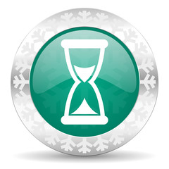time green icon, christmas button, hourglass sign