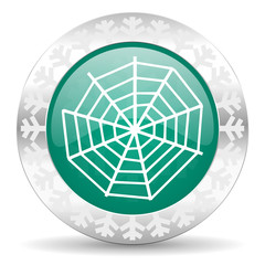 spider web green icon, christmas button