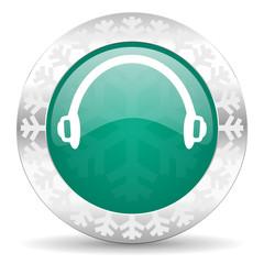 headphones green icon, christmas button