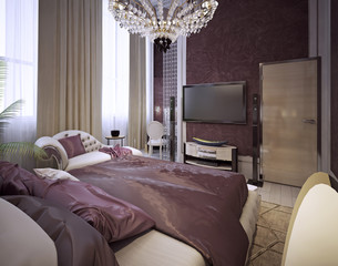 Bedroom in a luxurious classic style