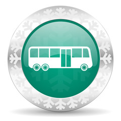 bus green icon, christmas button, public transport sign
