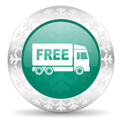 free delivery green icon, christmas button, transport sign