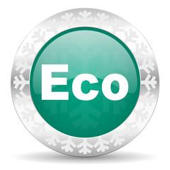 eco green icon, christmas button, ecological sign