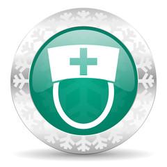 nurse green icon, christmas button, hospital sign