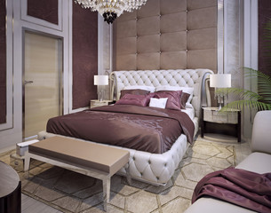 Beds and headboards in a luxurious classic style