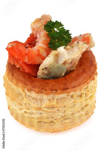 Papiers peints Entree, salade Bouchée à la reine de poisson et crevettes