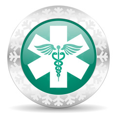 emergency green icon, christmas button, hospital sign