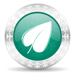 nature green icon, christmas button, leaf symbol