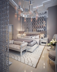 Bedroom in a luxurious modern style