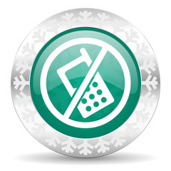 no phone green icon, christmas button, no calls sign