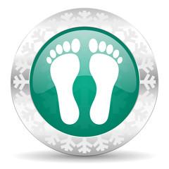 foot green icon, christmas button