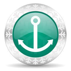 anchor green icon, christmas button, sail sign