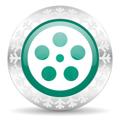 film green icon, christmas button