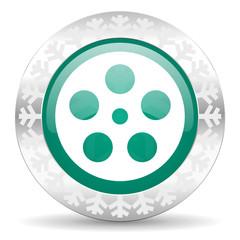 film green icon, christmas button