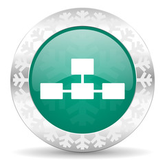 database green icon, christmas button