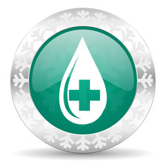 blood green icon, christmas button
