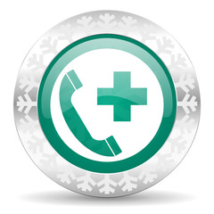 emergency call green icon, christmas button
