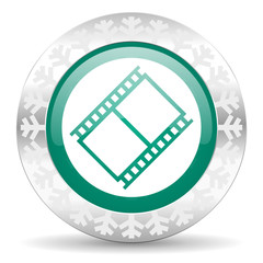 film green icon, christmas button, movie sign, cinema symbol