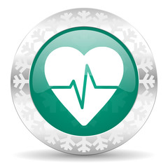pulse green icon, christmas button, heart rate sign