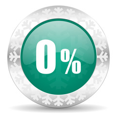 0 percent green icon, christmas button, sale sign