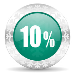 10 percent green icon, christmas button, sale sign