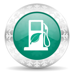 biofuel green icon, christmas button, bio fuel sign
