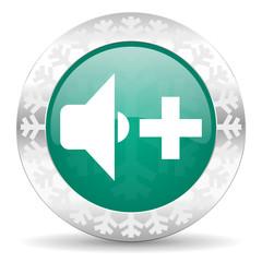 speaker volume green icon, christmas button, music sign