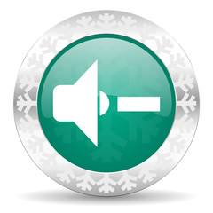 speaker volume green icon, christmas button, music sign
