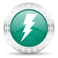 bolt green icon, christmas button, flash sign