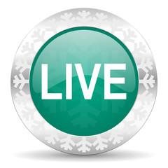 live green icon, christmas button