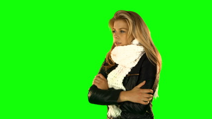 Shivering pretty woman with winter clothes