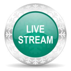live stream green icon, christmas button