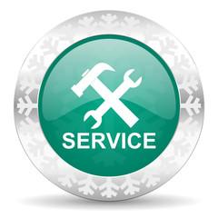 service green icon, christmas button