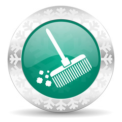 broom green icon, christmas button, clean sign