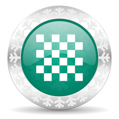 chess green icon, christmas button