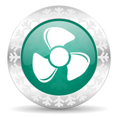 fan green icon, christmas button