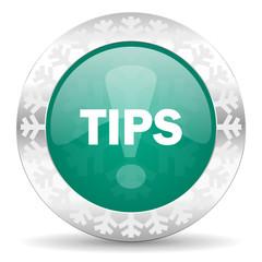 tips green icon, christmas button