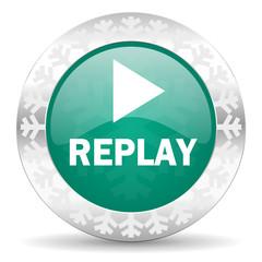 replay green icon, christmas button