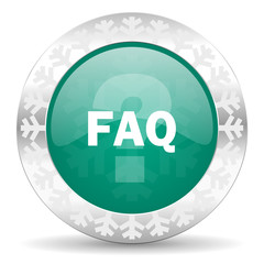 faq green icon, christmas button