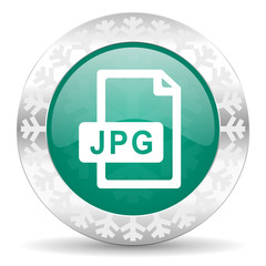 jpg file green icon, christmas button